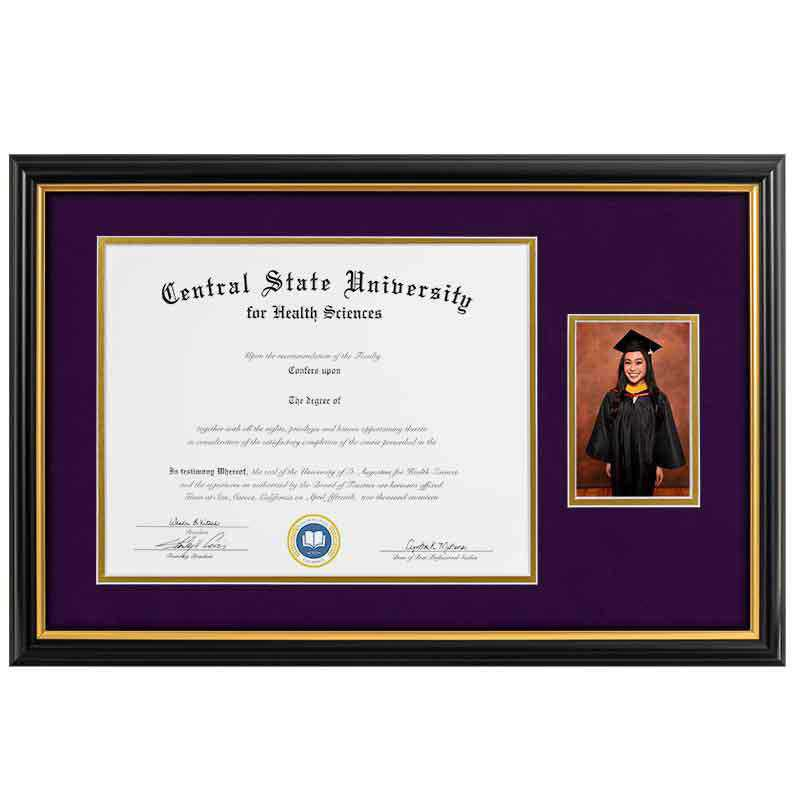 Heritage Frames 11x14 Standard Black & Gold Wood Diploma Frame with 4x6 Photo Display