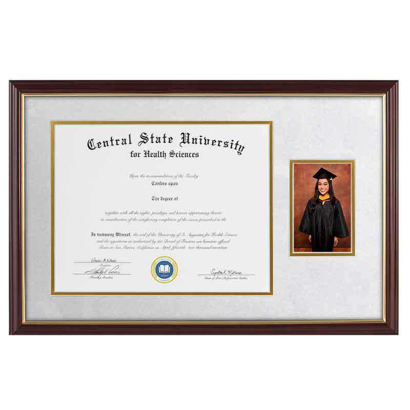 Heritage Frames 11x14 Standard Cherry & Gold Wood Diploma Frame with 4x6 Photo Display