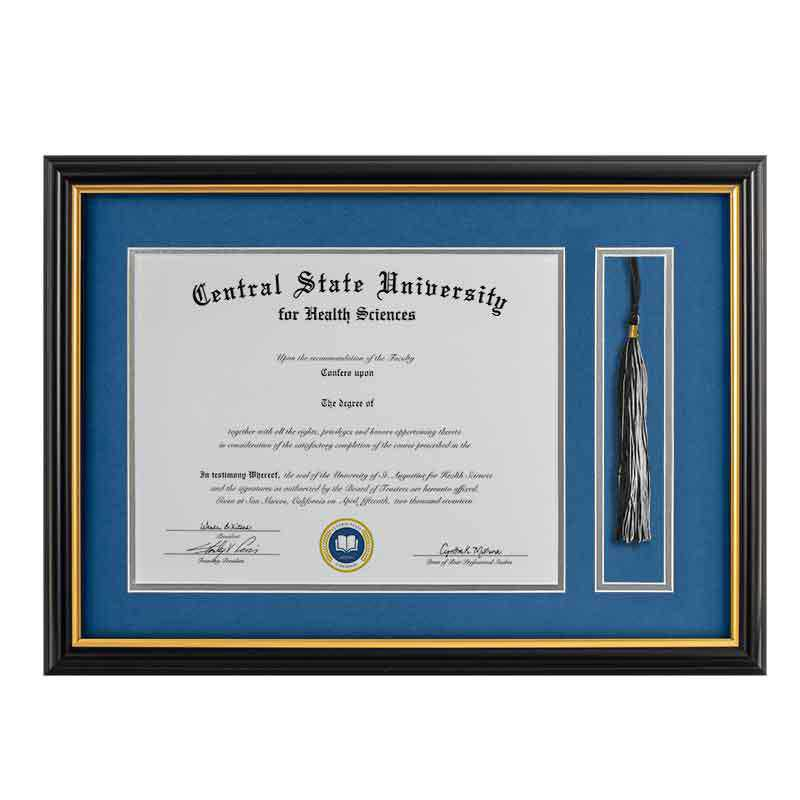 Heritage Frames 11x14 Standard Black & Gold Wood Diploma Frame with Tassel Display
