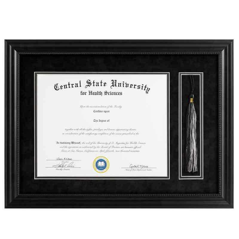 Heritage Frames 11x14 Premium Black Wood Diploma Frame with Tassel Display
