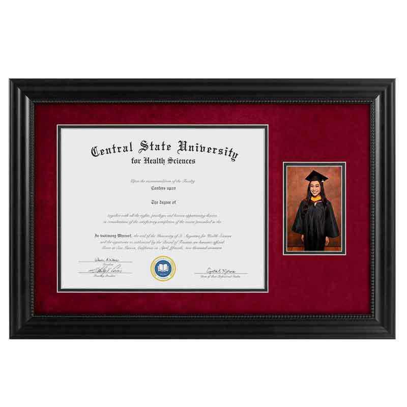 Heritage Frames 11x14 Premium Black Wood Diploma Frame with 4x6 Photo Display