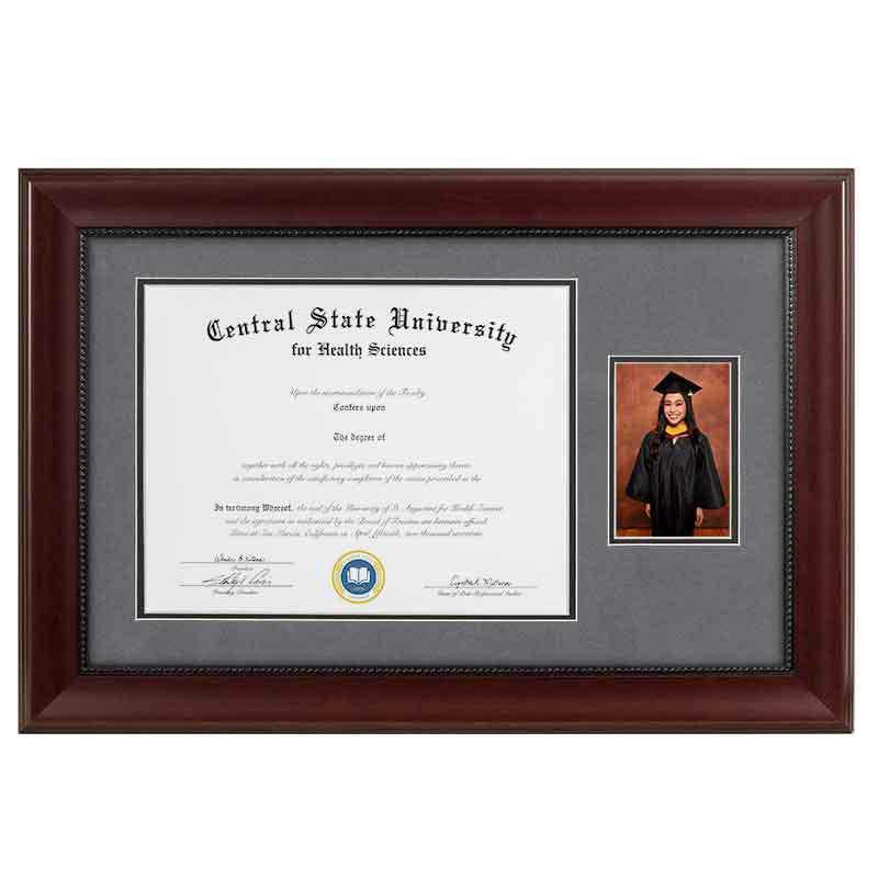 Heritage Frames 11x14 Premium Cherry Wood Diploma Frame with 4x6 Photo Display