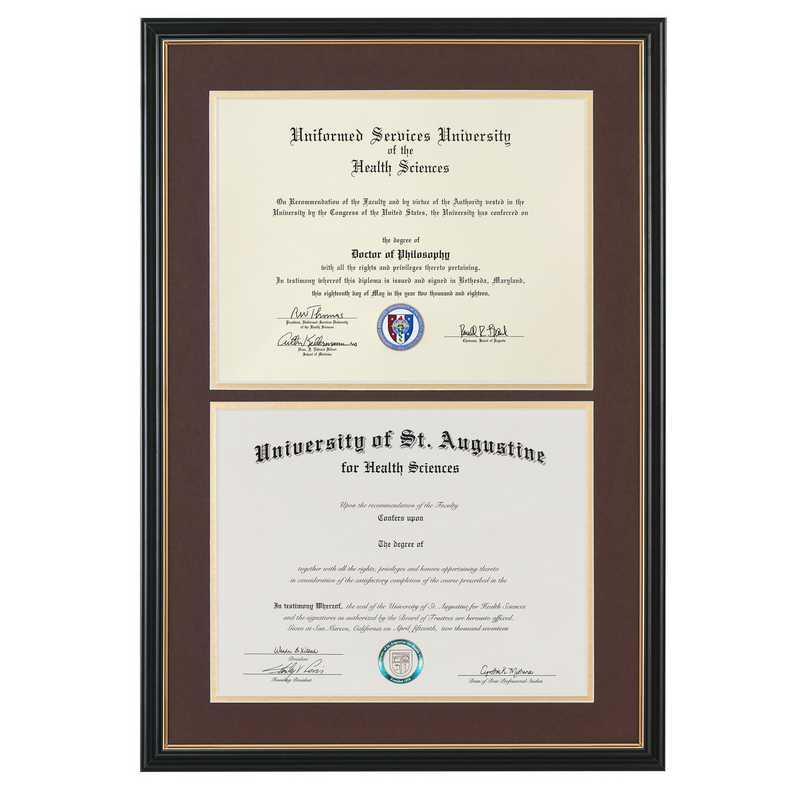 Heritage Frames Standard Black & Gold Double Diploma Frame