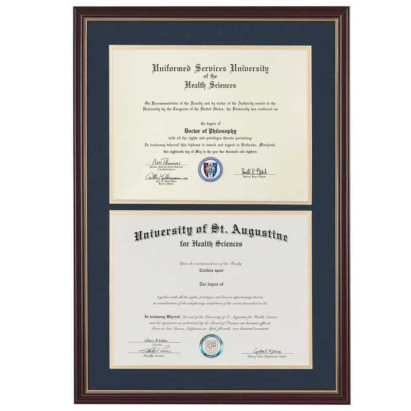Heritage Frames Standard Cherry & Gold Wood Double Diploma Frame