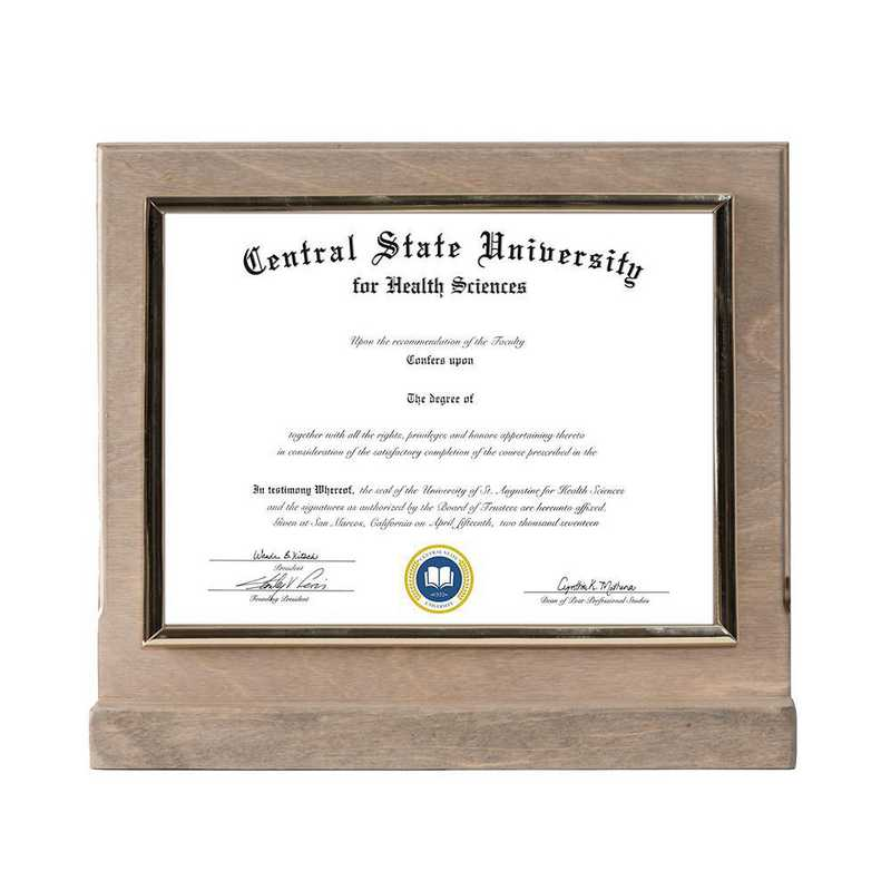 Weathered Oak Finished Wood Standing Diploma Plaque