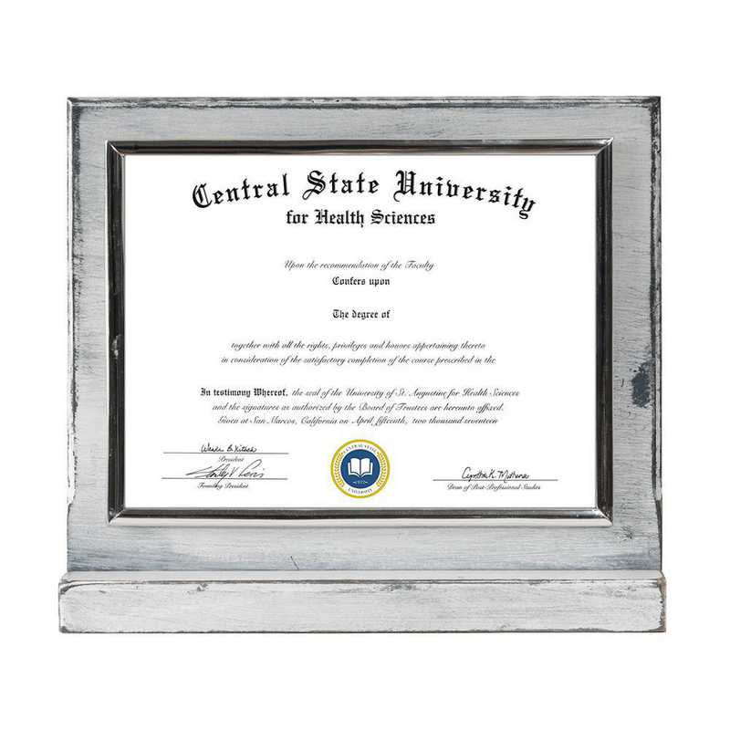 Whitewashed Finished Wood Standing Diploma Plaque
