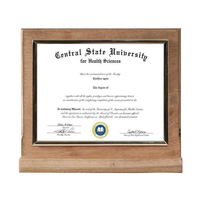 Golden Oak Finished Wood Standing Diploma Plaque