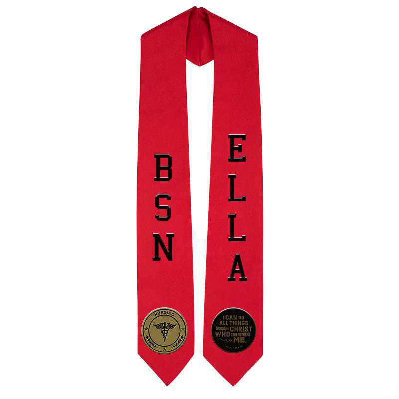 Personalized Satin Stole with Passion Patches