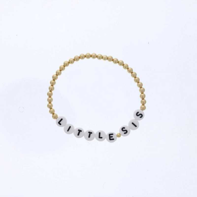 DBJ-BRC-2816GF: Gold filled 4mm beads and acrylic message letters