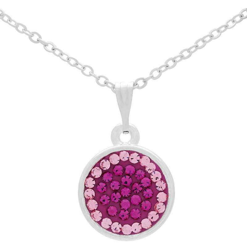 QQ-M-DANG-N-FUC-LTROS: Game Time Bling Circular Dangle Necklace - Fuc/Light Rose