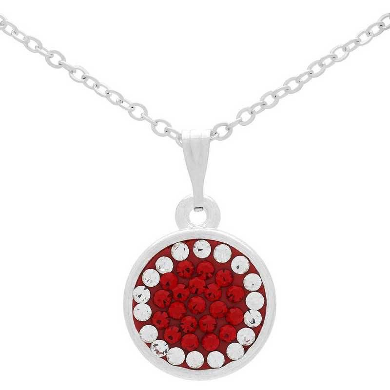 QQ-M-DANG-N-LTSIA-CRY: Game Time Bling Circular Dangle Necklace -LTSIA/CRY (Red/CRY)