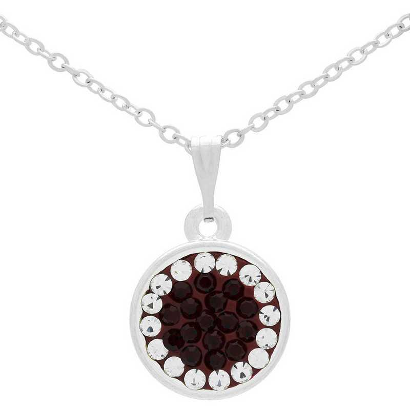 QQ-M-DANG-N-SIA-CRY: Game Time Bling Circular Dangle Necklace -Siam/CRY (Ruby/CRY)