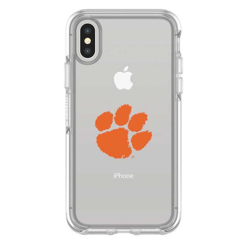 IPH-X-CL-SYM-CL-D101: FB Clemson iPhone X Symmetry Series Clear Case