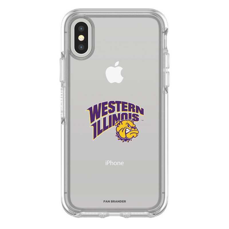 IPH-X-CL-SYM-WILU-D101: FB Western Illinois iPhone X Symmetry Series Clear Case