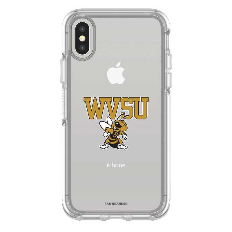 IPH-X-CL-SYM-WVSU-D101: FB West Virginia St iPhone X Symmetry Series Clear Case