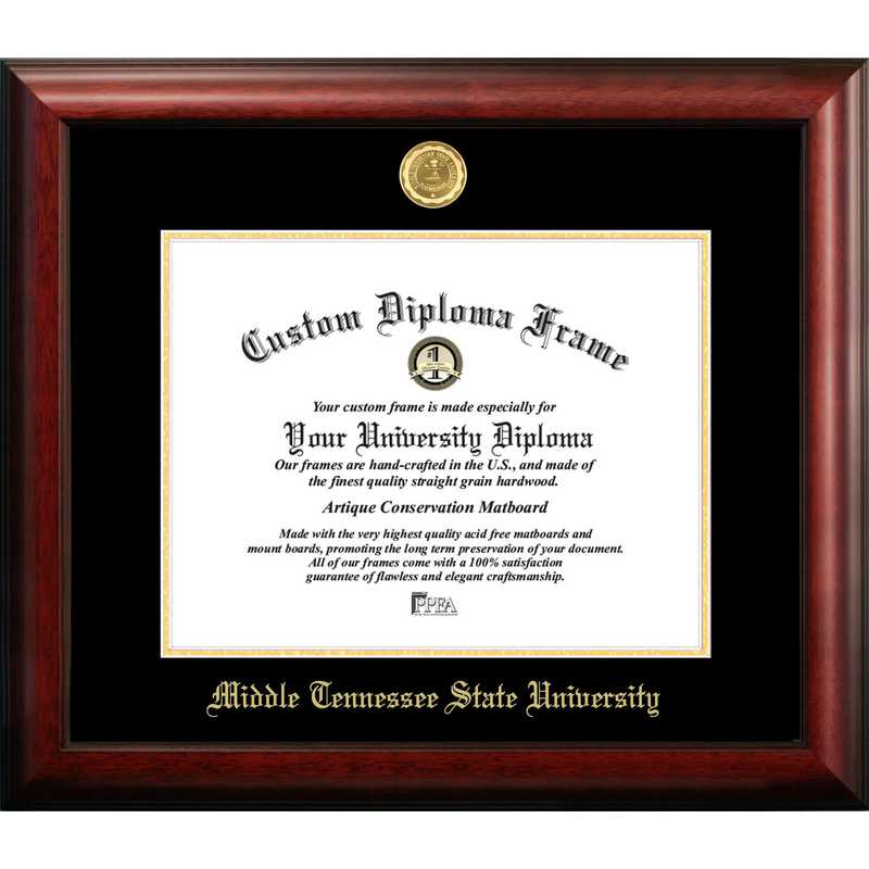 TN999GED-1411: Middle Tennessee State 14w x 11h Gold Embossed Diploma Frame
