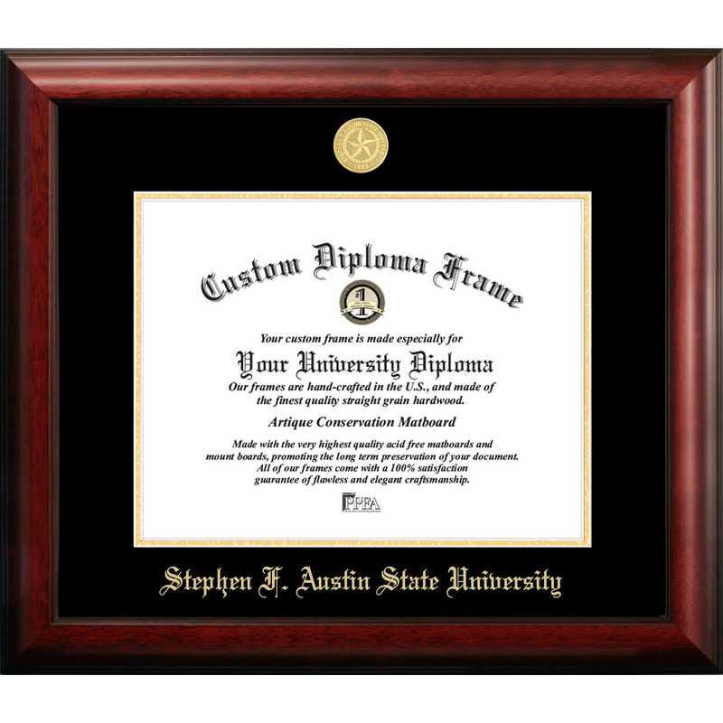 TX945GED-1411: Stephen F Austin 14w x 11h Gold Embossed Diploma Frame