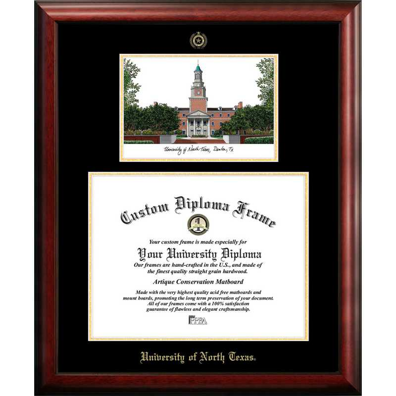 TX952LGED-1714: University of North Texas 17w x 14h Gold Embossed Diploma Frame with Campus Images Lithograph