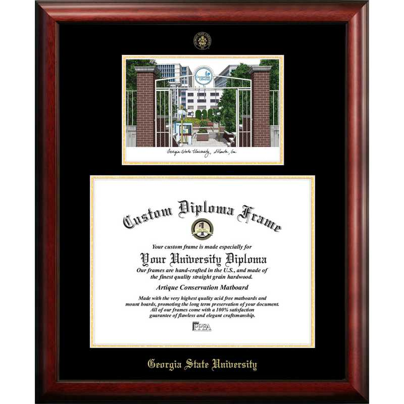GA973LGED-1714: Georgia State 17w x 14h Gold Embossed Diploma Frame with Campus Images Lithograph