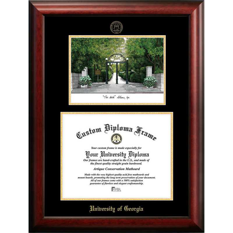 GA987LGED-1512: University of Georgia 15w x 12h Gold Embossed Diploma Frame with Campus Images Lithograph