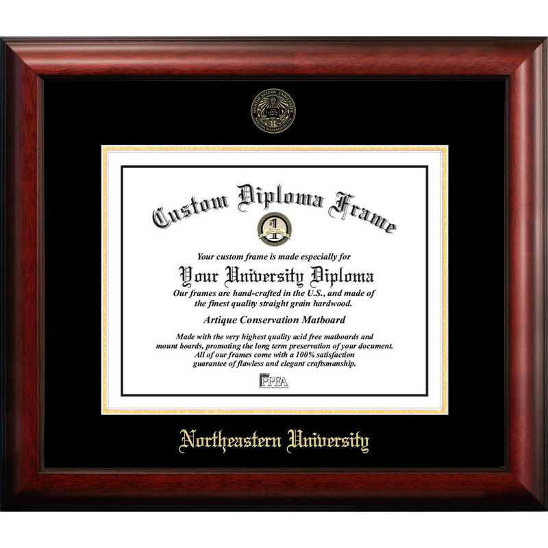 MA999GED-1411: Northeastern University 14w x 11h Gold Embossed Diploma Frame