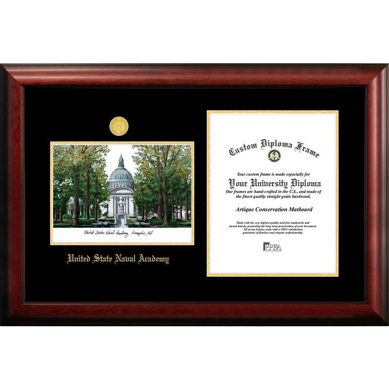 MD997LGED-1014: United States Naval Academy 10w x 14h Gold Embossed Diploma Frame with Campus Images Lithograph