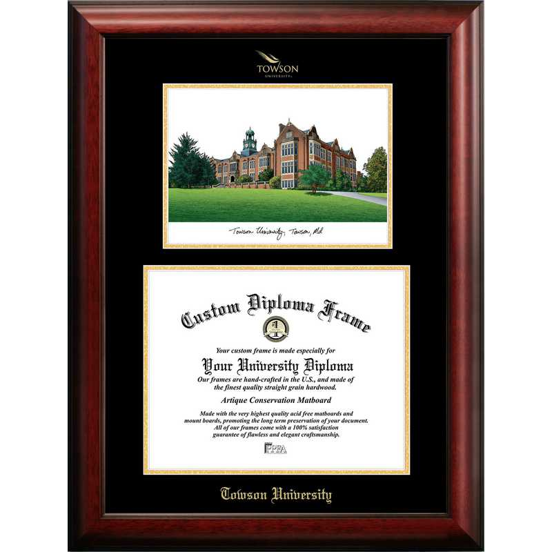 MD999LGED-1411: Towson University 14w x 11h Gold Embossed Diploma Frame with Campus Images Lithograph