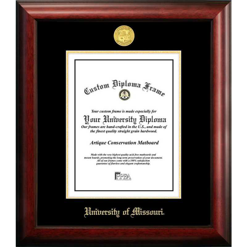 MO999GED-8511: University of Missouri 8.5w x 11h Gold Embossed Diploma Frame