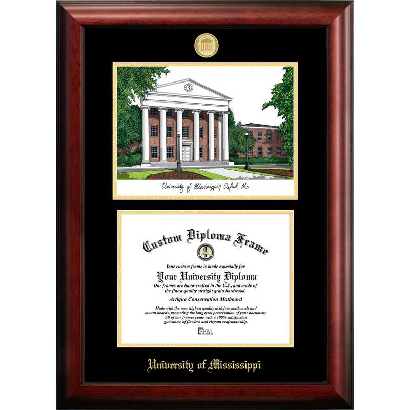 MS999LGED-129: University of Mississippi 12w x 9h Gold Embossed Diploma Frame with Campus Images Lithograph