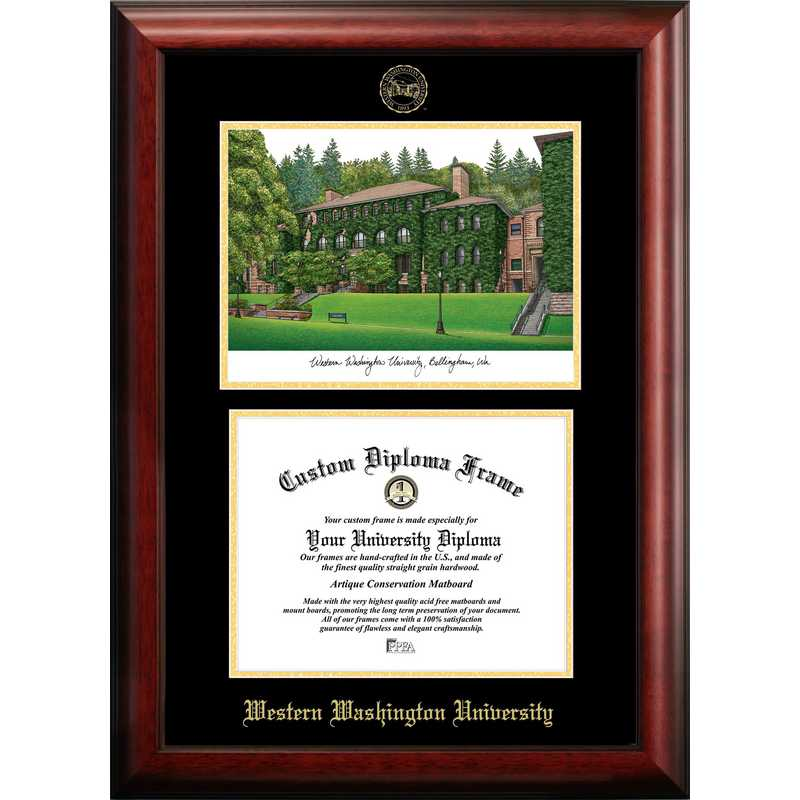 WA997LGED-1185: Western Washington University 11w x 8.5h Gold Embossed Diploma Frame with Campus Images Lithograph