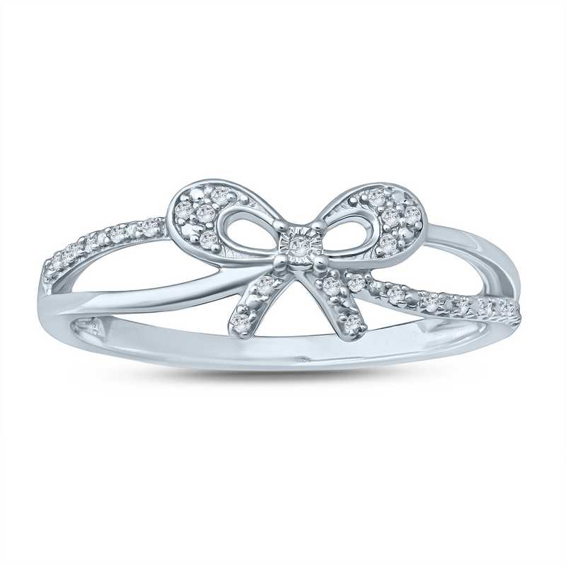 Diamond Accent Bow Ring in Sterling Silver