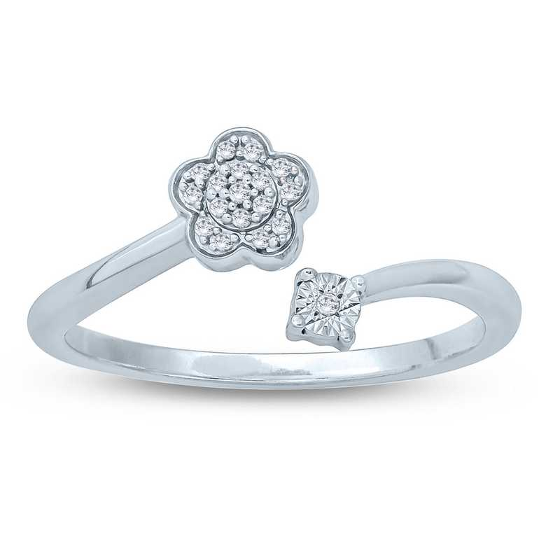 Diamond Accent Round Floral Fashion Ring In Sterling Silver.