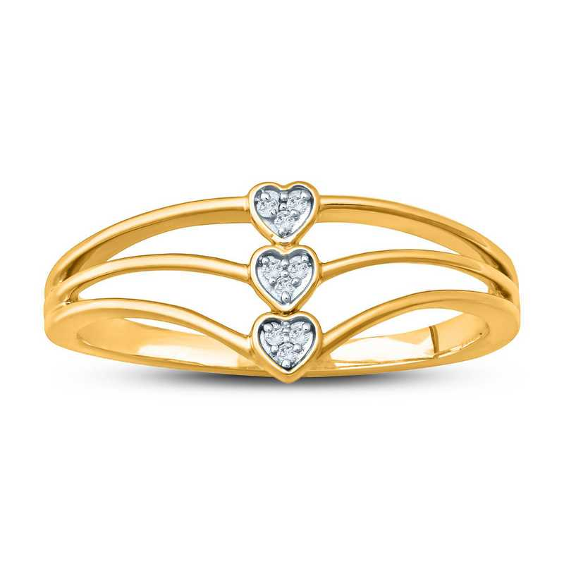 Diamond Accent Triple Heart Fashion Ring in 10K Gold