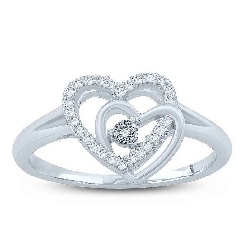 1/10 CT. T.W. Diamond Interlaced Double Heart Ring in Sterling Silver