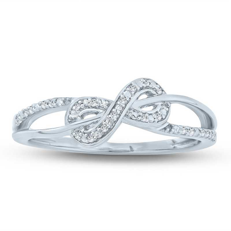 Diamond Accent Round Infinity Promise Ring in Sterling Silver