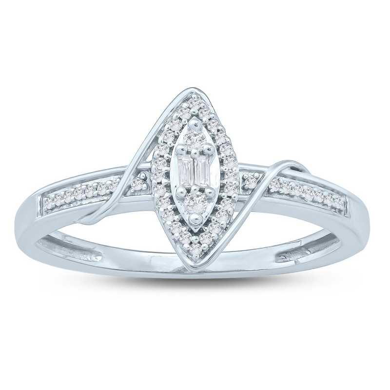 1/10 CT. T.W. Diamond Cluster Love's Promise Ring in 10K White Gold