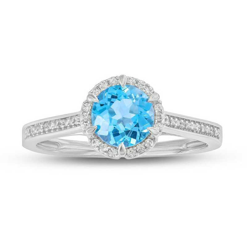 1 CT. Genuine Blue Topaz and 1/10 CT. T.W. Diamond Ring in Sterling Silver