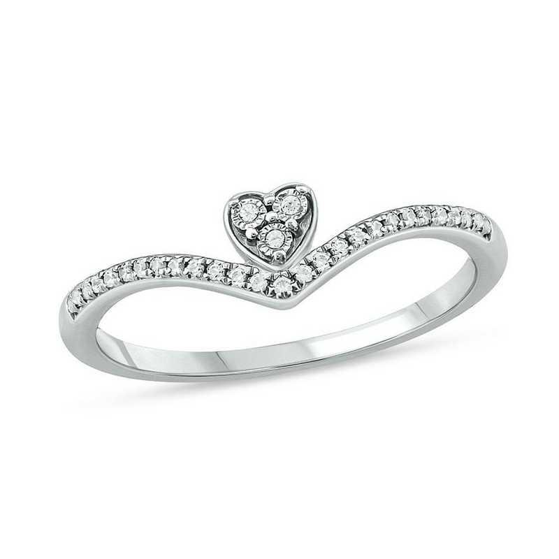 1/10 CT. T.W. Diamond Heart Ring in 10K White Gold