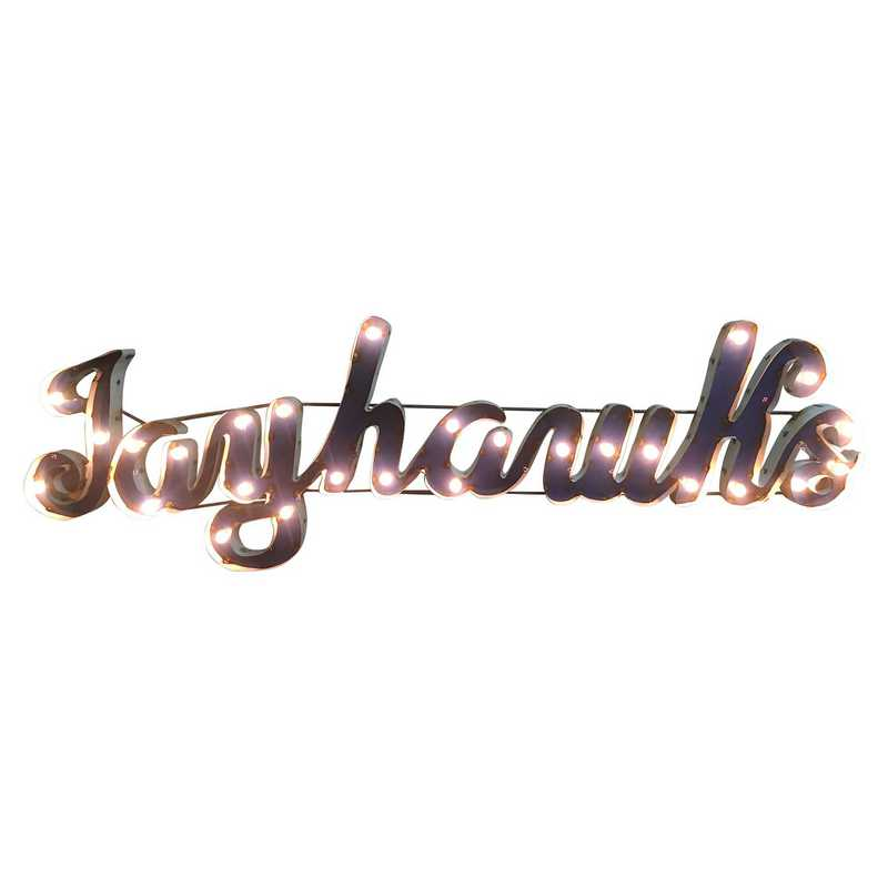 JAYHAWKSWDLGT: Kansas Jayhawks Metal Décor w/Lights