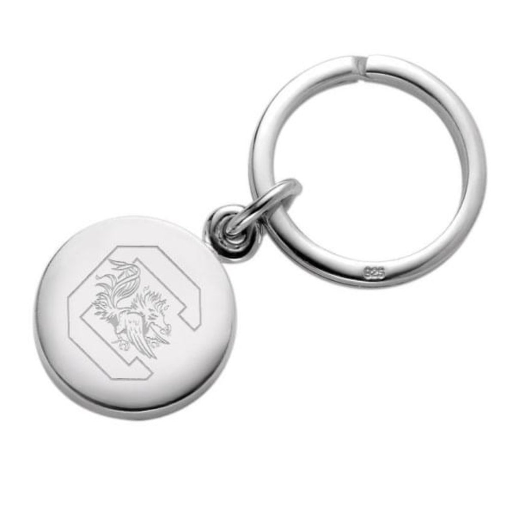 Sterling Silver LogoArt Official Licensed Collegiate University of South Carolina SC Black Leather Oval Key Chain