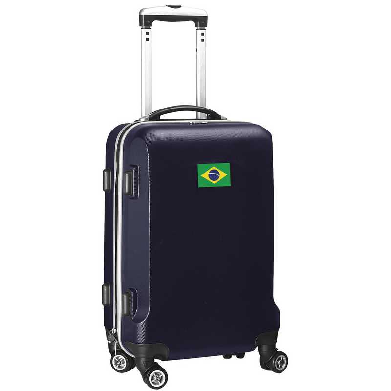 """FLBRL204-NAVY: Brazil Flag 21"""" Carry-On Spinner Navy"""