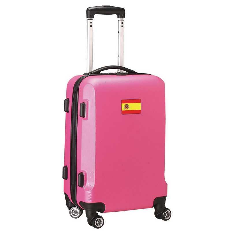 """FLSPL204-PINK: Spain Flag 21"""" Carry-On Spinner Pink"""