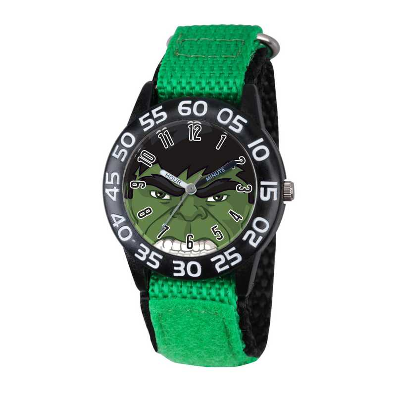 W003250: Plastic Marvel Boys Hulk Black Watch Green Ny Strap