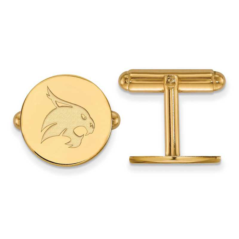 GP010TST: LogoArt NCAA Cufflinks - Texas State - Yellow