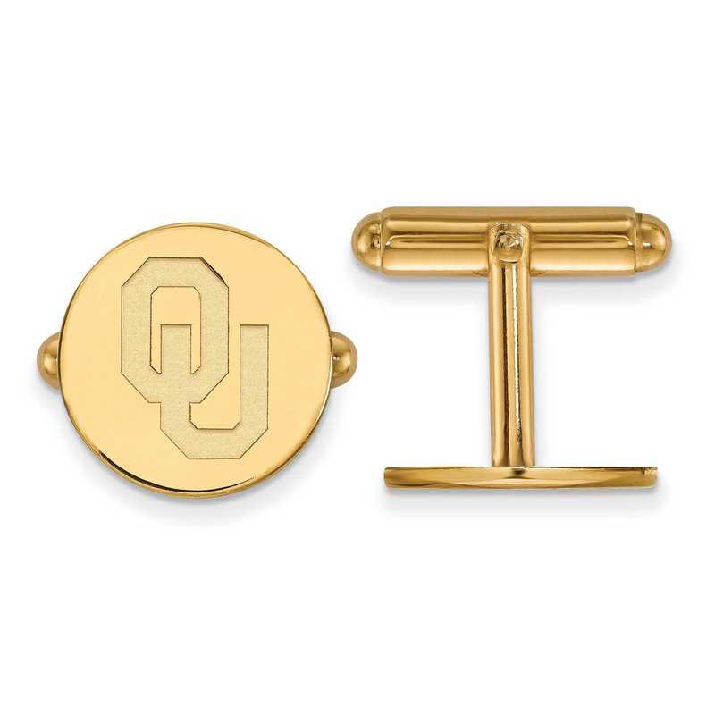 GP011UOK: LogoArt NCAA Cufflinks - Oklahoma - Yellow