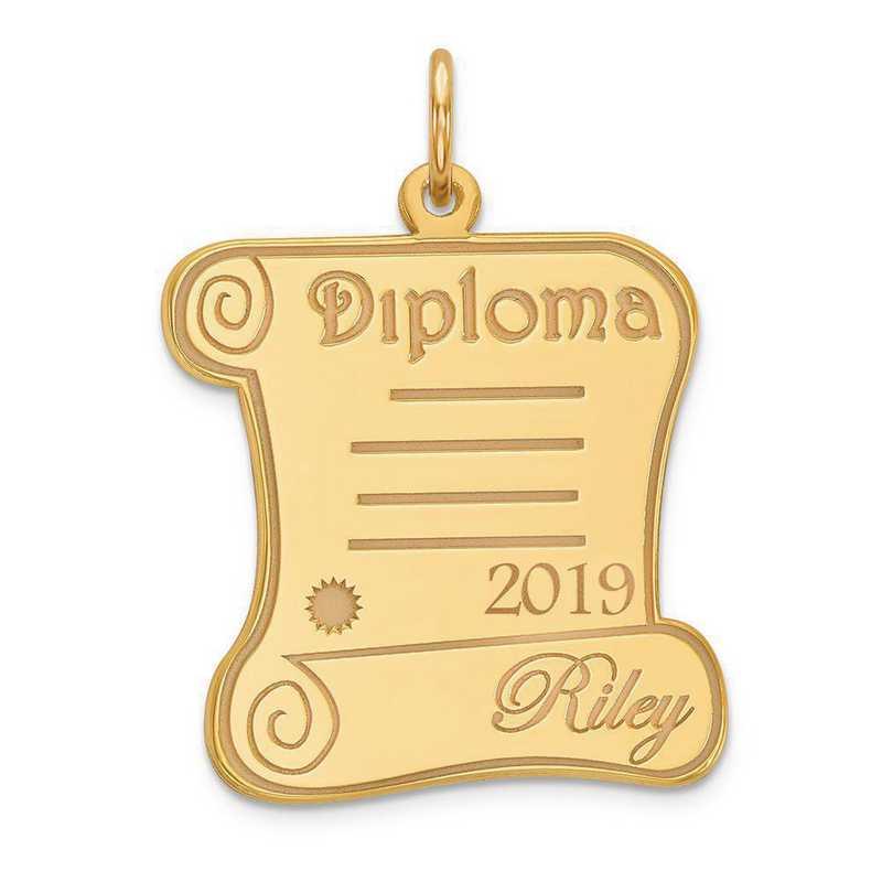 XNA370Y-PEN53-18: 14 Karat Yellow Gold Personalized Graduation Charm
