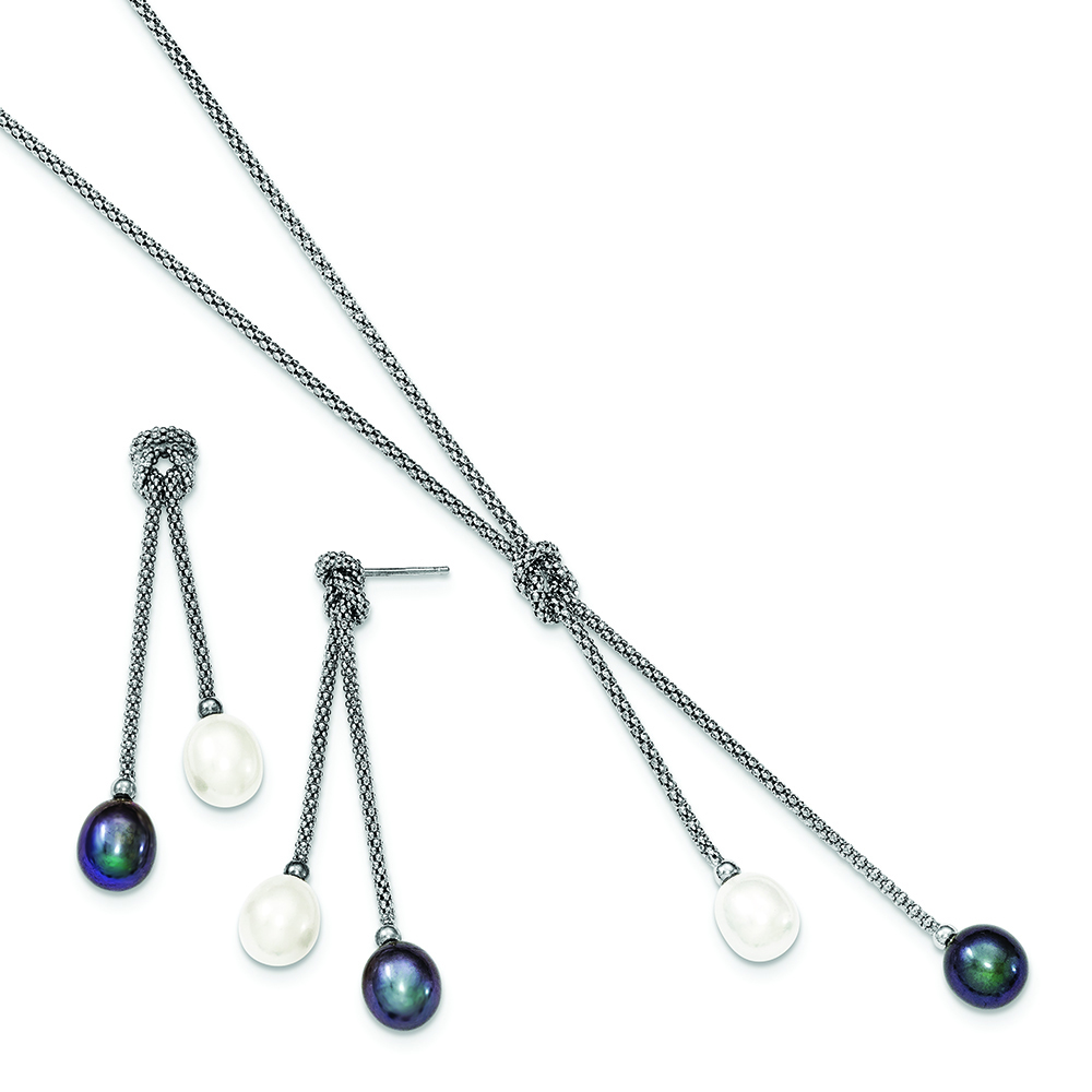 Sterling Silver Blue Dichroic Earrings /& 18in Necklace Set