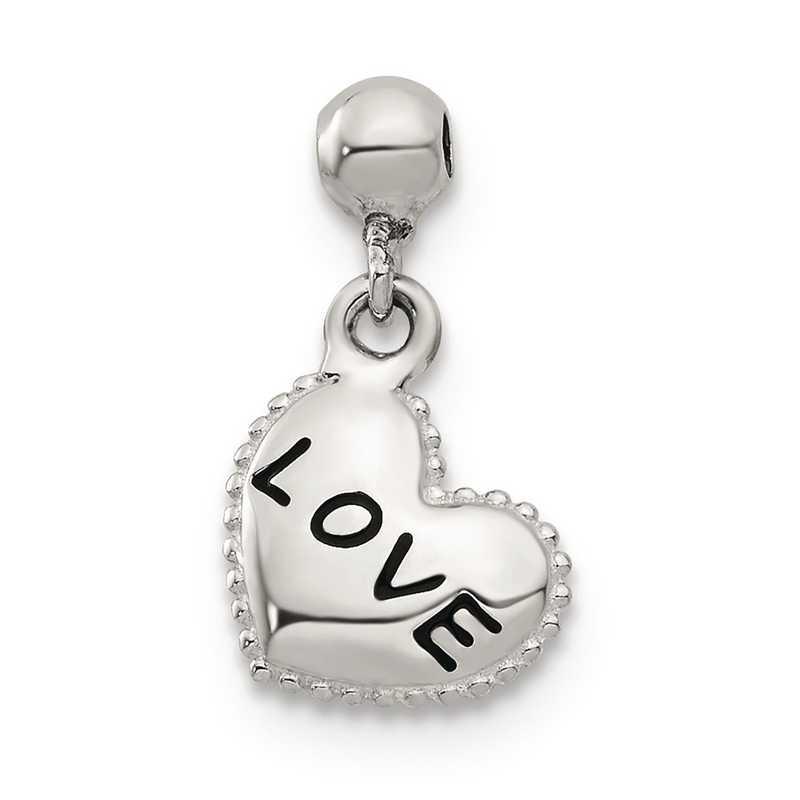 QMM142: 925 Mio Memento Enamel Dangle Love Heart Charm