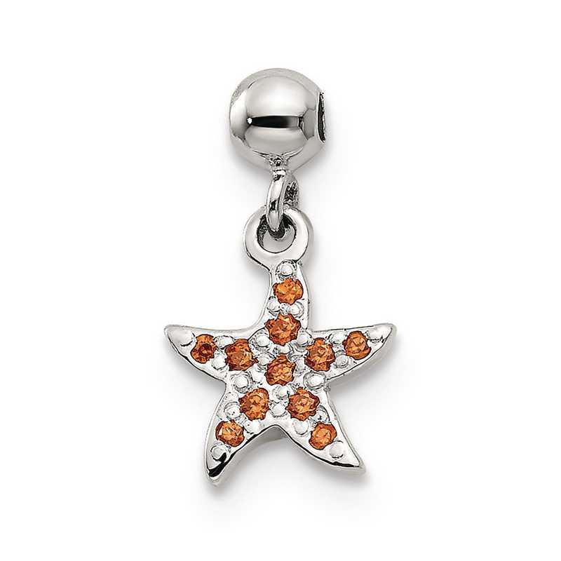 QMM165: 925 Mio Memento Orange CZ Dangle Starfish Charm