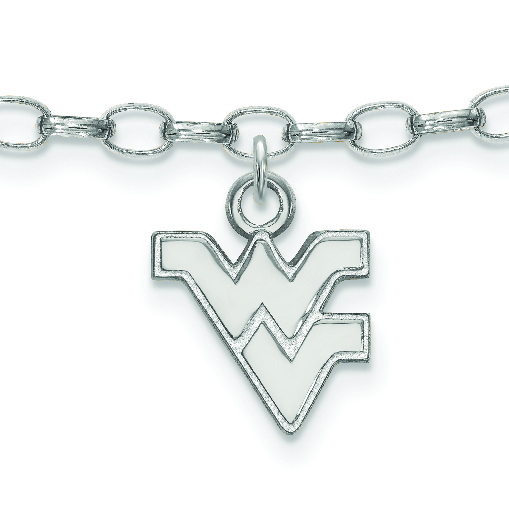 Sterling Silver LogoArt Official Licensed Collegiate West Virginia University Black Leather Oval Key Chain WVU